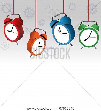 Alarm Clocks On Gray