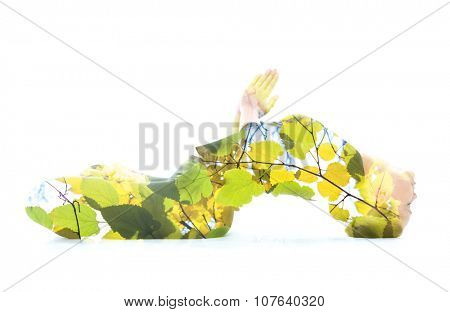 Multiexposure portrait of woman performing yoga asana, combined with photograph of a tree