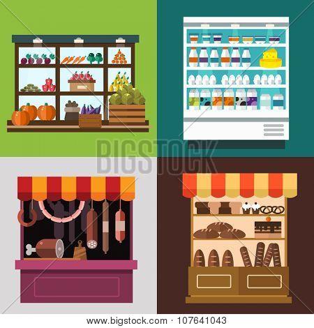 Fruit, vegetables, milk products, meat, bakery shop stall vector set. Fruit and vegetables market view. Milk products on shop stall. Meat shop vector illustration. Food supermarket, food shop, food