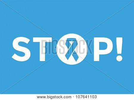 Stop cancer medical poster concept. Cancer blue ribbon, breast cancer awareness symbol, isolated on background. Vector illustration of cancer ribbon for people cancer and cancer symbol. Medical