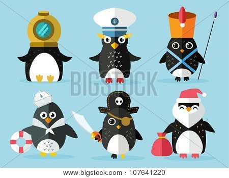 Penguin set vector illustration. Cartoon funny penguins different situations. Penguin clown, pirate, christmas, captain, sailor, cook. Cartoon penguin vector set illustration. Penguin vector