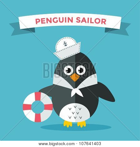 Cartoon penguin character vector illustration. Cartoon funny penguin sailor or captian. Penguin captain, sailor, captain hat, sailor penguin. Cartoon penguin vector illustration. Penguin vector