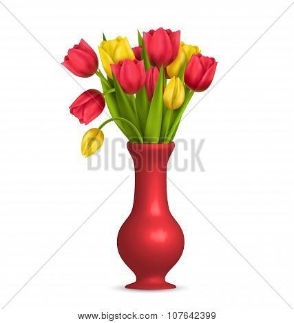 Tulips In Vase Isolated On White