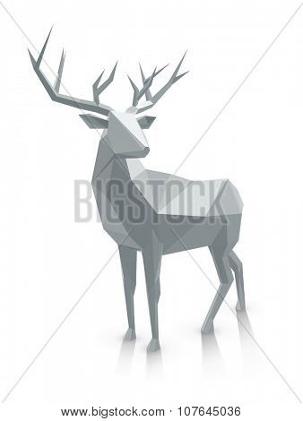 Polygonal illustration. Low poly deer, with space for text. Stag as graphic element for Christmas designs.