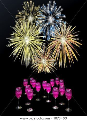 Fireworks Above Champagne Drinks.