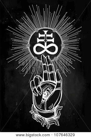 Handwith Eye of Providence and Satanic cross.