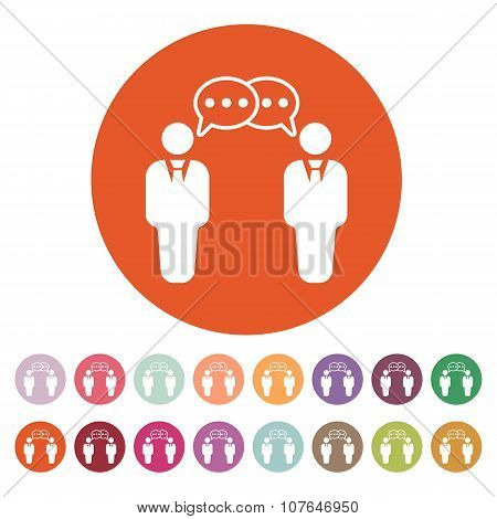 The negotiations icon. Debate and dialog, discussion, conversations symbol. Flat Vector illustration. Button Set poster