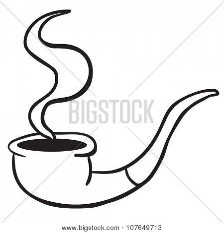 simple black and white smoking pipe cartoon