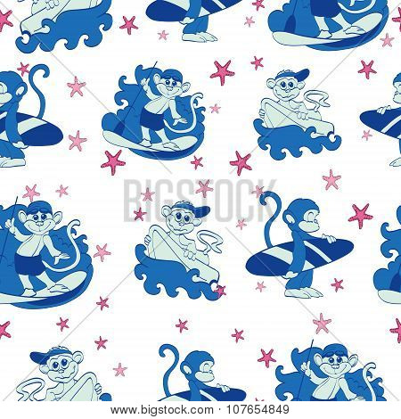 Vector Fun Surfing Monkeys Starfish Seamless Pattern. SUP Boogie Board
