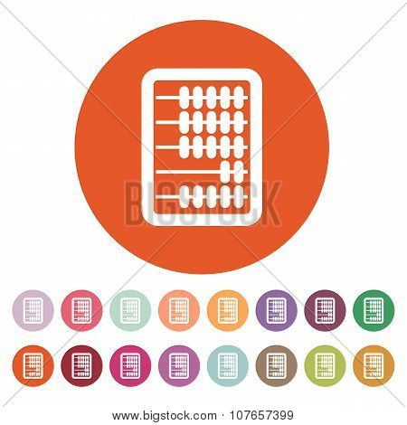 The abacus icon. Finance and calculation, accounting, calculator, arithmetic, mathematics symbol. Fl