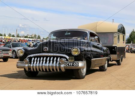 Buick Super Eight Car And Vintage Travel Trailer