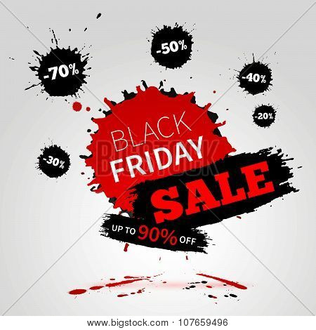 Black Friday Sale Poster For Your Business. Watercolor Banner With Ink Splashes.