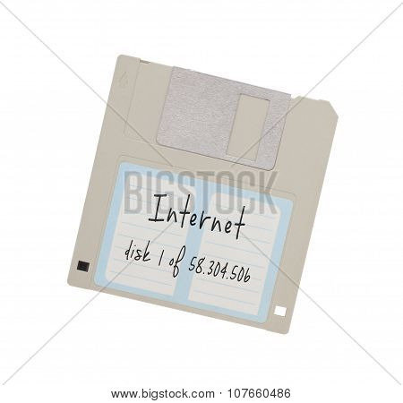 Floppy Disk - Tachnology from the past isolated on white - Internet disk 1 of many poster