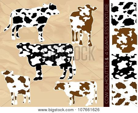 Set Of Five Cow Silhouettes With Seamless Texture