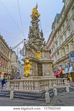 VIENNA AUSTRIA JANUARY 8 2014: Hole Trinity Column in Graben street in Vienna in Austria with Christmas decoration in the street