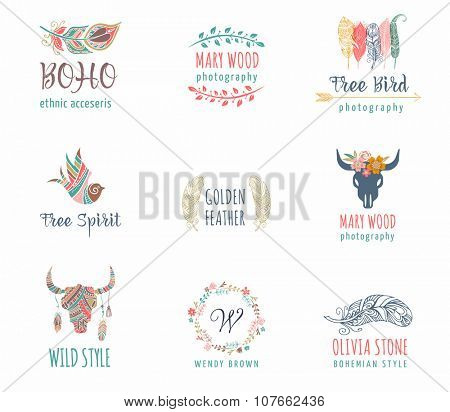Bohemian, tribal, ethnic icon set with feather, bird and wreath