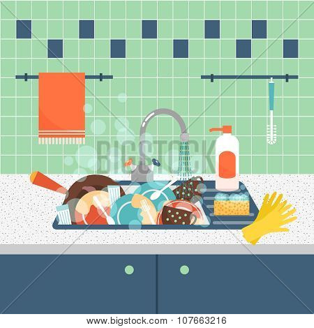 Kitchen sink with dirty kitchenware and dishes. Mess and sink, dirty and kitchenware, wash sponge. Vector illustration poster