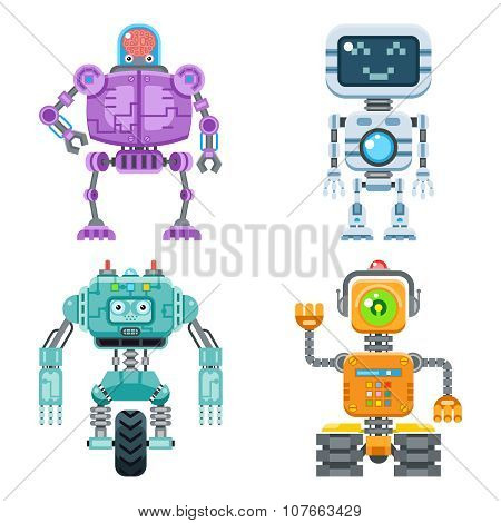 Robot flat icons vector set