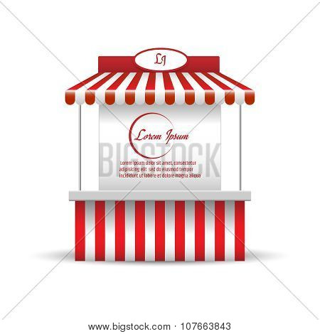 Market stand stall for promotion sale. Shopping cart. Vector illustration
