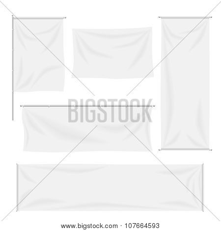 White flags and textile banners with folds vector template set. Separate shadows may be used for any