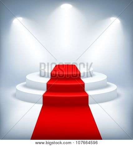 Illuminated Festive Stage Podium On White Background