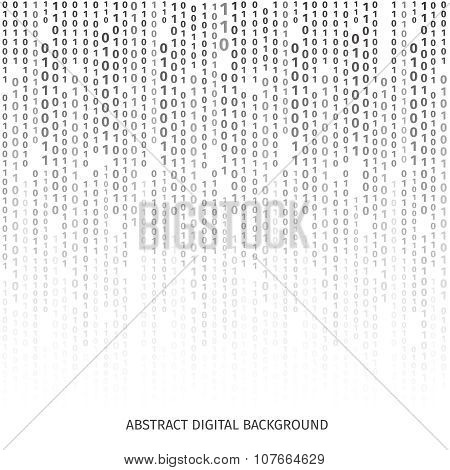 Binary code black and white background with digits on screen. Vector illustration