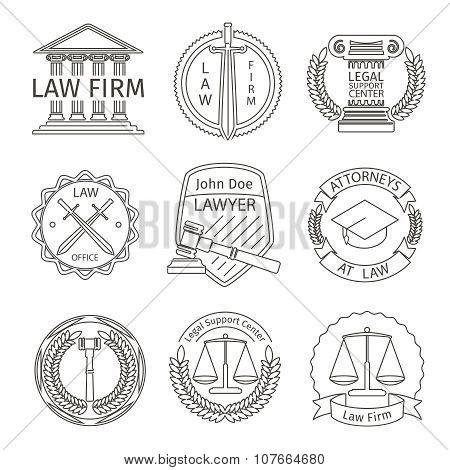 Juridical and legal logo elements in line style