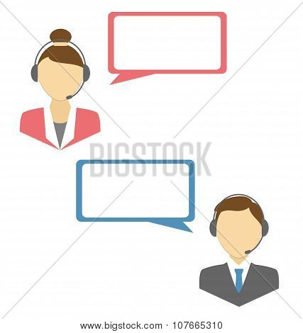 Two Web Consultants With Headphones And Blank Spaces For Text Is