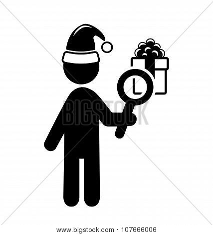Christmas Shopping Man Search Gifts Flat Black Pictogram Icon Is