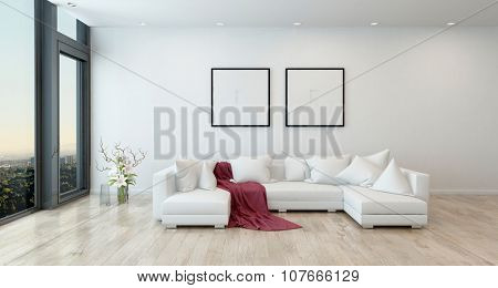 Architectural Interior of Open Concept Apartment in High Rise Condo - Red Throw Blanket on White Sectional Sofa in Open Concept Modern Living Room with Minimal Furnishings. 3d Rendering