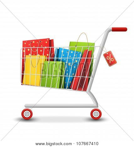 Sale Colorful Shopping Cart With Bags Isolated On White