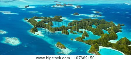 Beautiful view of 70 islands in Palau from above. Wide panorama perfect for banners.