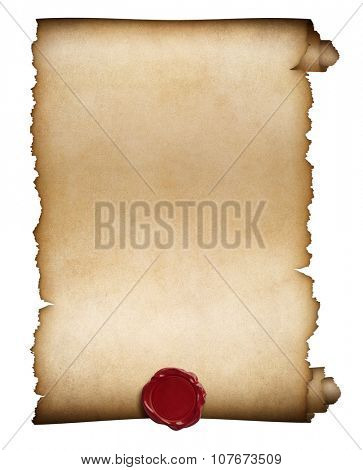 paper roll or manuscript with wax seal isolated