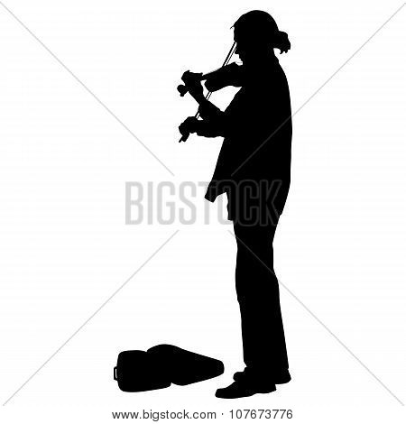 Silhouette Street Violinist On White Background. Vector Illustra