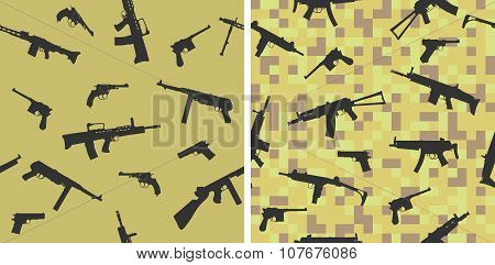 Different firearms on a camouflage fabric.