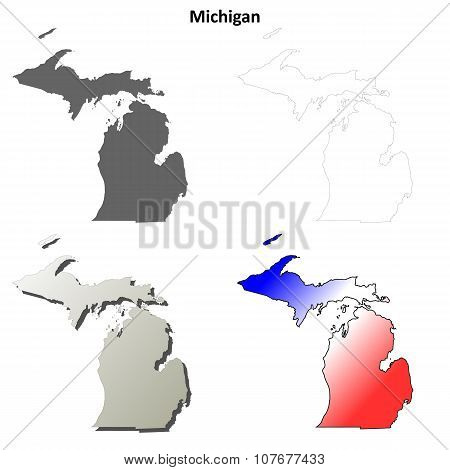 Michigan outline map set