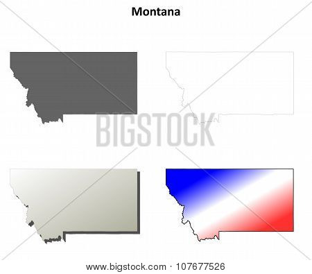 Montana state blank vector outline map set poster