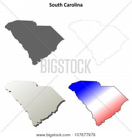 South Carolina outline map set