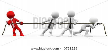 3D men pulling a rope