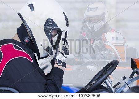 Double Exposure Go-kart Racer Ready For Race
