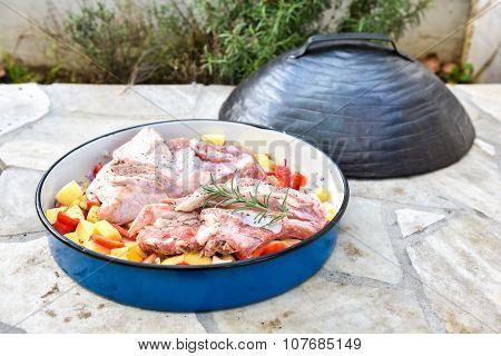 Cooking Of Traditional Balkan Turkish Bosnian Dalmatian Meal Peka In Metal Pots Called Sac Sach Or S