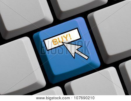 Blue Keyboard Showing Buy