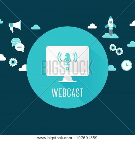 Webcast or Live Stream Illustration. Computer with Microphone Icon