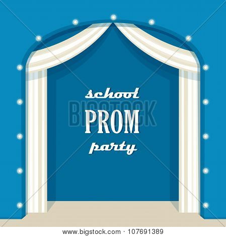 Vintage Stage with Marquee Lights and Curtains. School Prom Party Sign