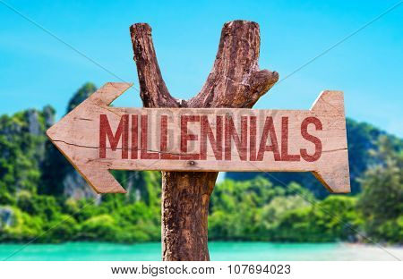 Millennials arrow with beach background