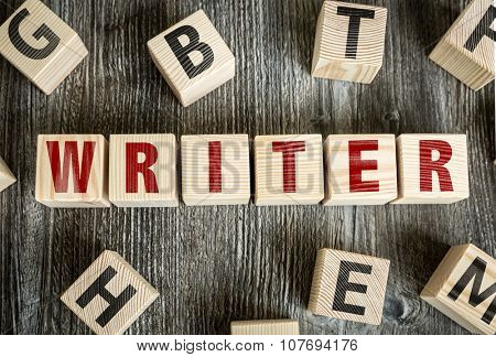 Wooden Blocks with the text: Writer