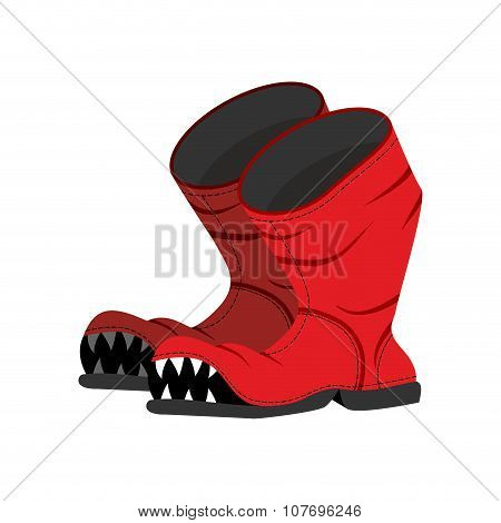 Broken Boot With Teeth. Old Shoes With Hole. Dreaded Boot.