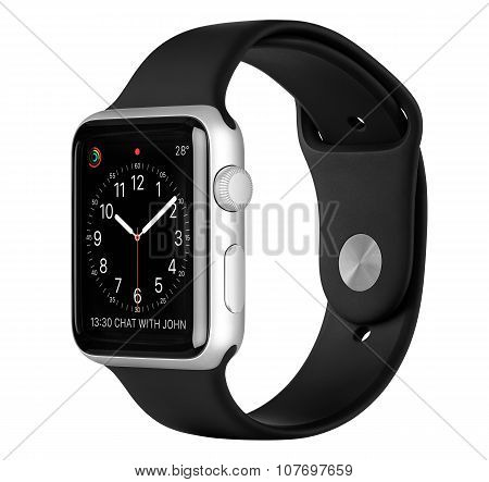 Apple Watch Sport 42Mm Silver Aluminum Case With Black Sport Band Side View