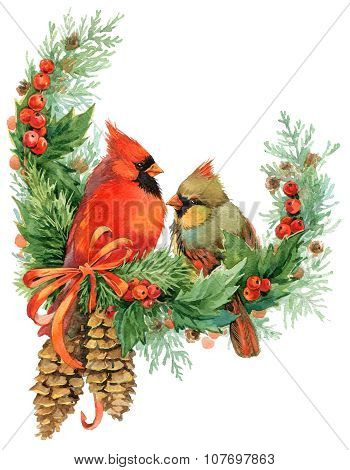 Christmas wreath and cute birds. watercolor illustration
