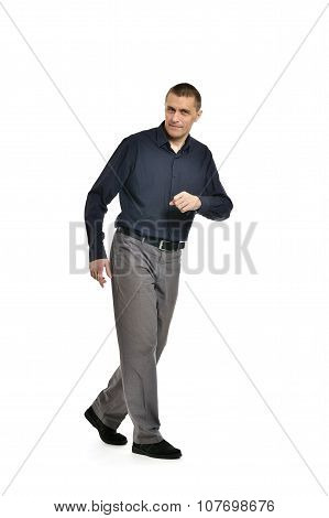 Confident man hurry up on a white background poster